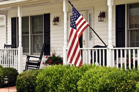 front porch: Front porch of white colonial house