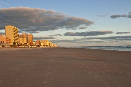 condos: beach condos at sunrise Stock Photo