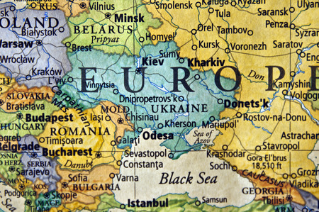 invade: map of ukraine and surounding area Stock Photo