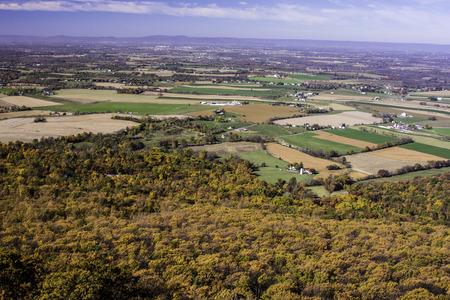 valley below: mountain vista of valley below during autumn Stock Photo