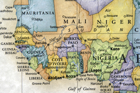 liberia: colored map of Liberia and surrounding countries