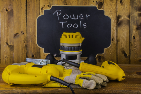 power tools: power tools on wood background