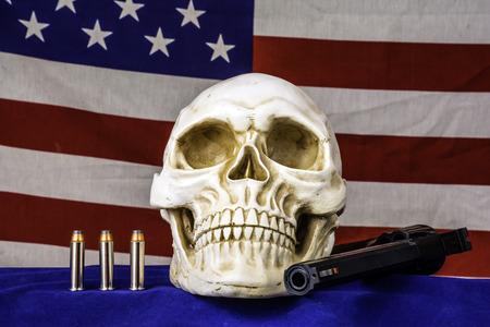 fire skull: human skull and american flag