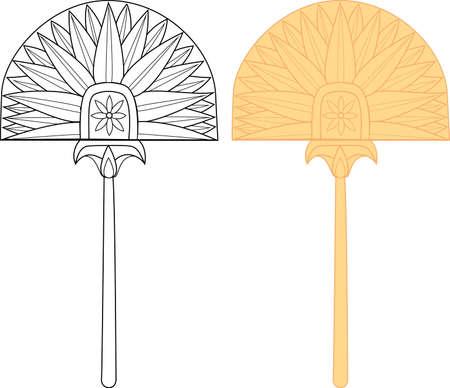 Ventilador de Egipto con estampado de flores Ilustración de vector