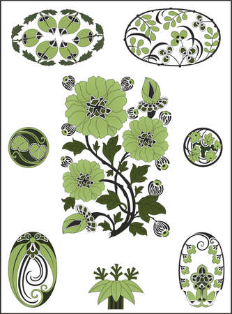 stile liberty: Vector insieme di elementi di design in stile Art Nouveau Vettoriali