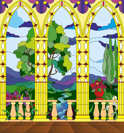 pillar: stained glass window - the view from the balcony of the castle across the valley