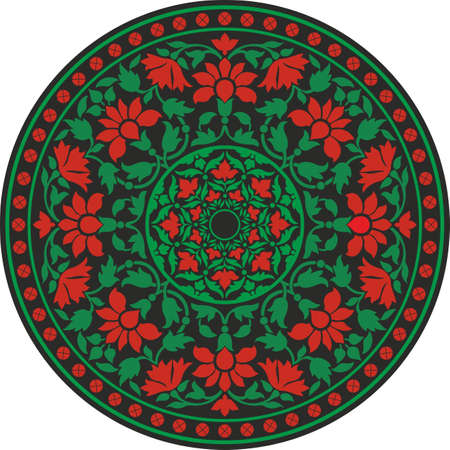 Indian traditional pattern in color - flower mandala Vector