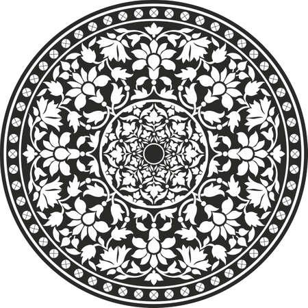 インド: 黒と白 - 花曼荼羅のインドの伝統的なパターン  イラスト・ベクター素材