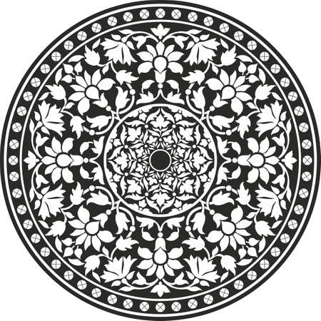 arabesque antique: Indian traditional pattern of black and white - flower mandala Illustration