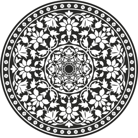 folkloric: Indian traditional pattern of black and white - flower mandala Illustration