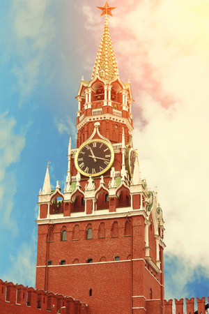 Spasskaya tower of the Moscow Kremlin close up beautiful sunny day in Moscow, Russia