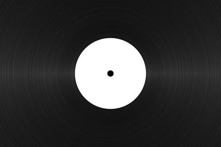 vinyl record with blank white label close up black vinyl texture