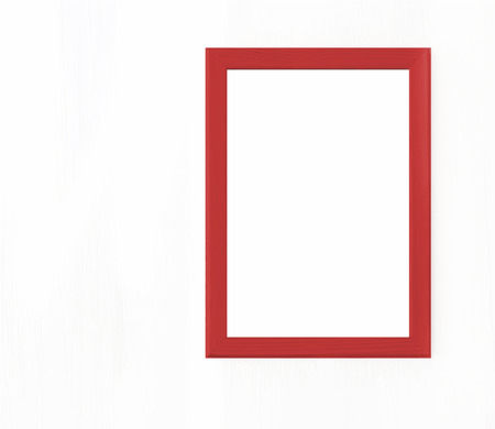 Blank red wooden horizontal frame for picture hanging on white wall. Mock up design. Copy space. Realistic vector illustration
