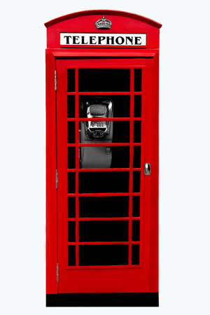 English public red phone box isolated on white background. Also known as telephone booth, telephone kiosk or public call box Stock Photo