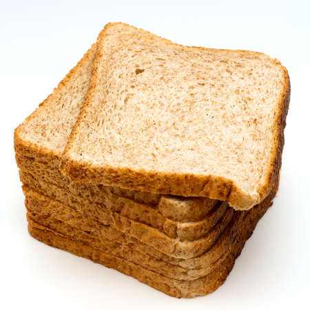 Sliced bread to toast isolated on white background. Close up. Top view