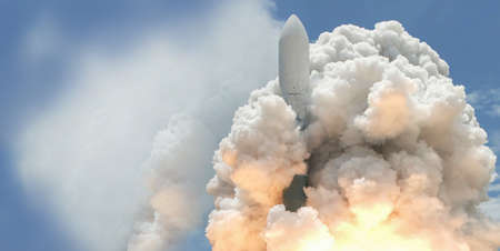 Launch of the spaceship from the spaceport by day. Space shuttle in clouds of smoke on the background of dramatic sky.