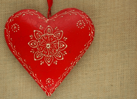red heart on natural background Stock Photo