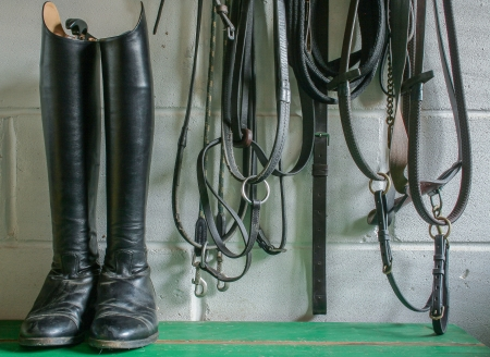 riding boots and tack photo