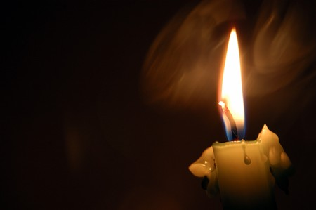 candle: candle flame and smoke, burning in the darkness