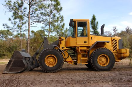 side view of bulldozer at the construction site
