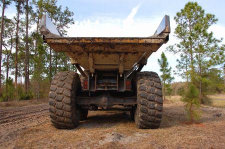 dumptruck: heavy duty dump truck rear view