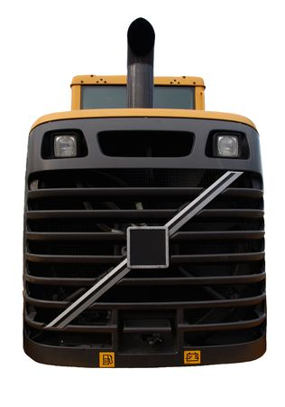 front end: bulldozer front end grill close up, isolated on white