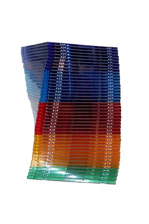 spiral stack of dvd cd jewel cases