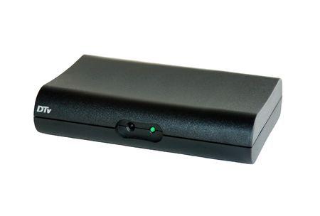 black digital tv converter box isolated on white