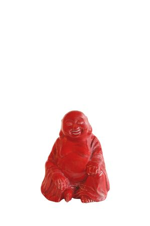 red buddah figurine isolated on white Stock Photo