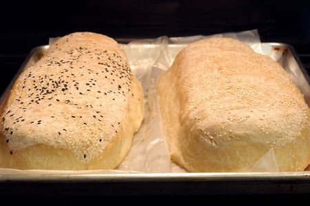 cookie sheet: two home made bread loafs fresh out of the oven colling on a cookie sheet