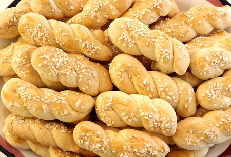 close up of traditional greek cookies with sesameseeds Stock Photo