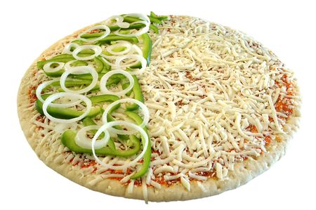 raw  half green pepper and onion pizza pie