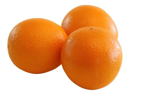 three oranges isolated on white background Stock Photo