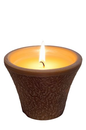 lit Citronella candle isolated over white backgroung