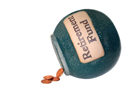 Retirement fund savings bank with only four pennies inside