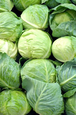 organic cabbage for sale at farmers market Stock Photo