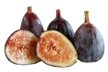 figs whole and cut isolated on white