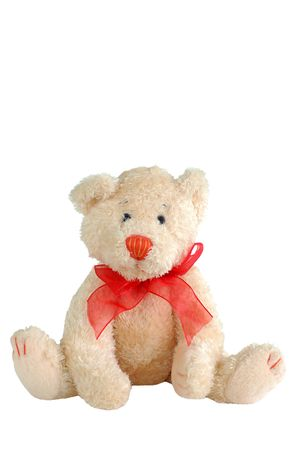 stuffed teddy bear with red bow tie isolated on white Stock Photo