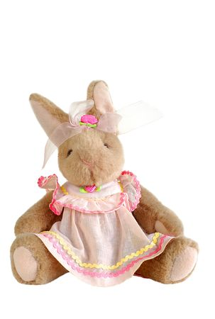 plush toy: stuffed easter bunny rabbit toy in a pink dress Stock Photo