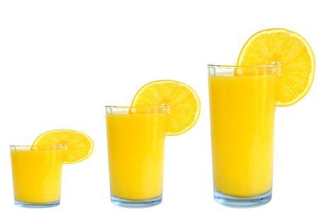 orange juice small medium and large isolated on white