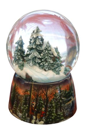 christmas tree snow globe isolated on white photo