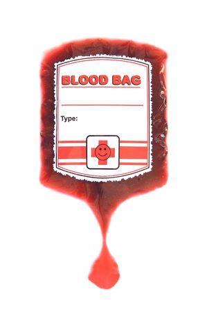 globulo rojo: Bolsa de sangre roja que IV aislados en blanco