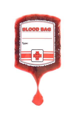 red blood bag iv isolated on white Stock Photo