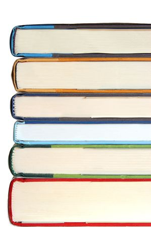 stack of six books isolated on white