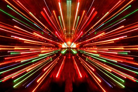warp speed: christmas lights burst Stock Photo