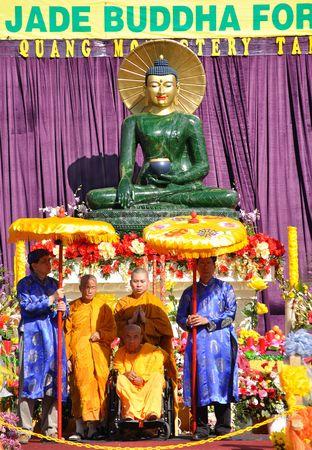 buddha image: Florida, Tampa - March 14, 2010: Jade Buddha statue for universal peace on display at the Minh Dang quang temple Florida, Tampa.