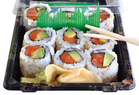take out salmon and avocado sushi