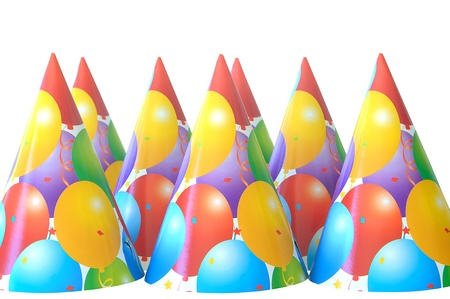 group of party hats isolated on white with copy space photo