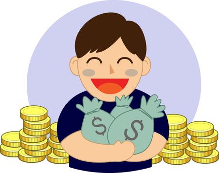 hand holding money bag: hand holding money bag vector illustration