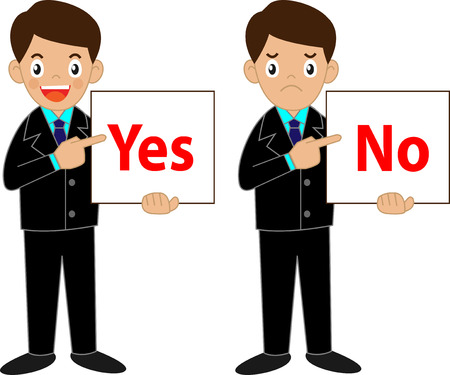 Business man character holding Yes or No sign Vector
